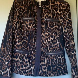 Doncaster leopard print jacket with ribbon trim